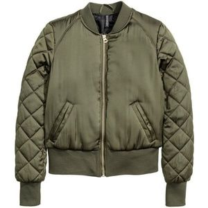 H&M Olive Green Quilted Bomber Jacket